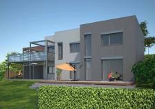 Projekt rodinný dům ve svahu s přístřeškem a pergolou, 501