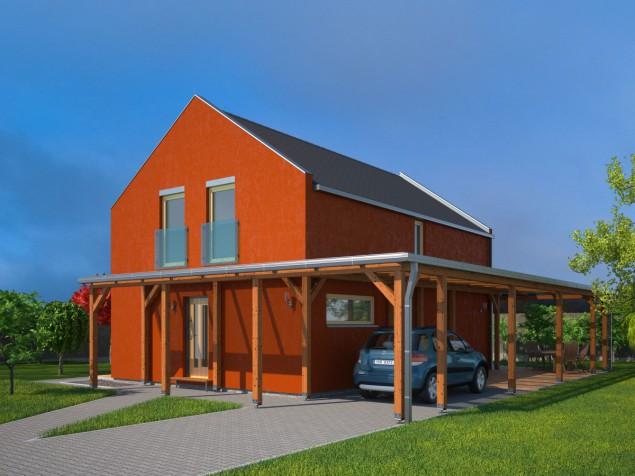 Projekt dřevostavby s podkrovím 5+kk pro úzké pozemky, 045 č.1