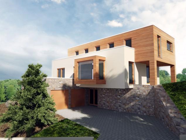 Projekt moderní dřevostavby ve svahu s garážemi 4+kk, RD 049 č.1
