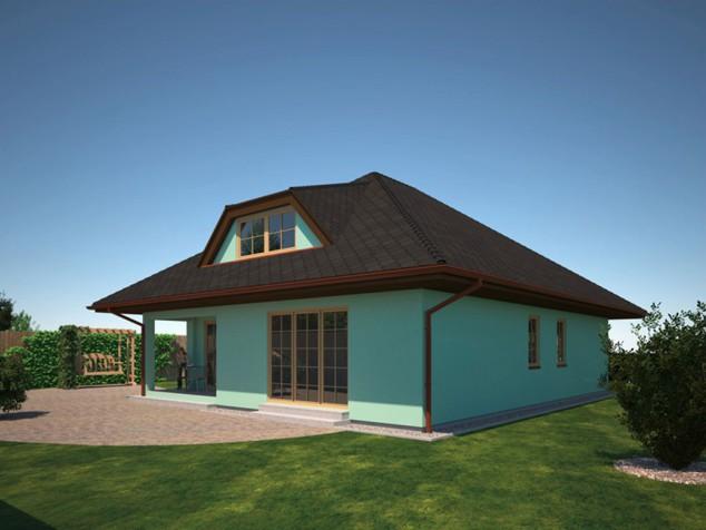 Projekt dřevostavby 5+kk se šatnami a terasou, RD 033 č.1