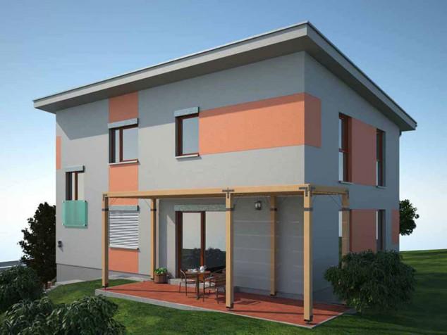 Projekt rodinný dům s pultovou střechou a garáží, 5+kk, 044 č.1