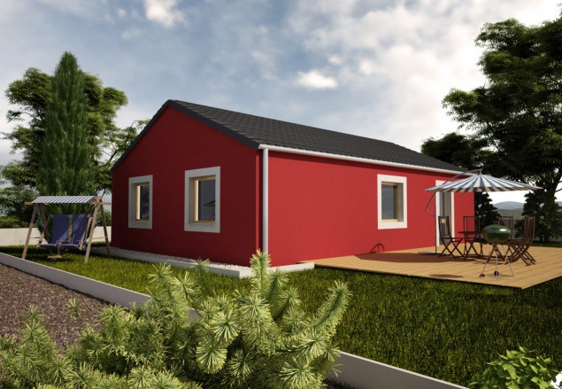Projekt klasického bungalovu 4+kk se sedlovou střechou, 904 č.1
