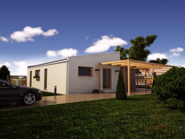 Projekt moderní dřevostavby bungalovu 4+kk s terasou, RD 058 č.1
