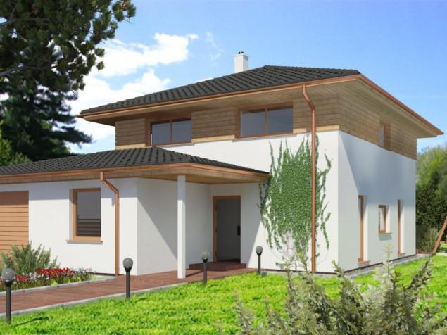 Projekt dřevostavby 5+kk s garáží a velkou šatnou, RD 063 č.1