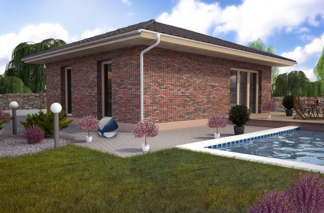 Projekt přízemního domu 3+kk s valbovou střechou, 800 č.1