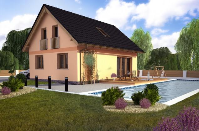 Projekt rodinného domu, možnost udělat podkroví později, 801 č.1