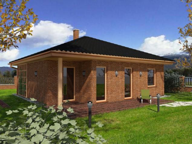 Projekt dřevostavby bungalovu 4+kk s krytou terasou, RD 906 č.1