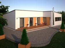 Projekt moderní dřevostavby bungalovu 4+kk se skladem RD 064