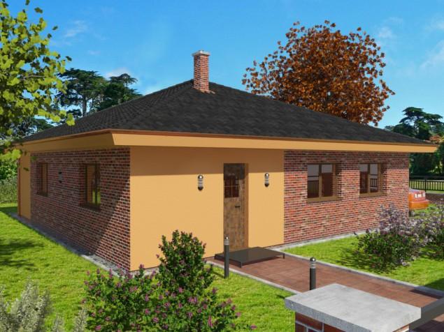 Projekt bungalovu 5+kk, 2 koupelny, krytá terasa, 908 č.1