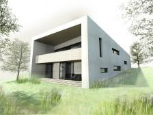Pasivní dům na úzký pozemek ve svahu s dvougaráží Plzeň