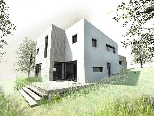 Pasivní dům ve svahu s pultovou střechou na úzkém pozemku č.1