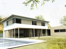 Pasivní dům s dvougaráží v městské zástavbě Kralupy n/Vlt.