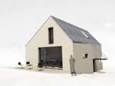 Nízkoenergetický dům ve svahu dispozice o půl patra posunutá