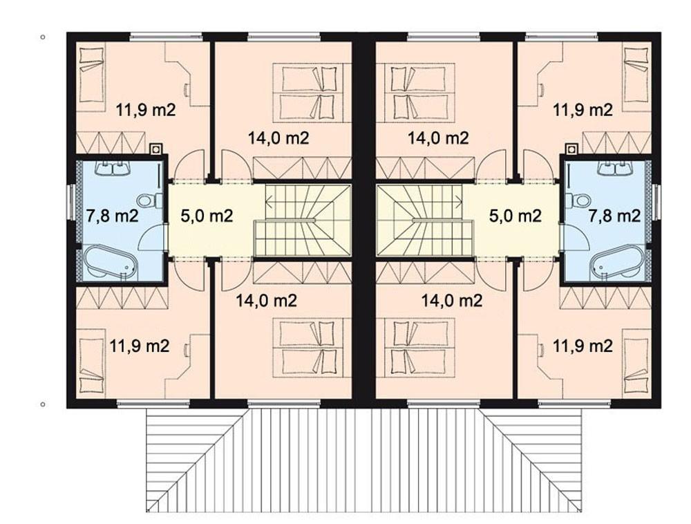 Projekt Dvojdomu Drevostavby 5 Kk S Garazi Rd 015 Typove Projekty