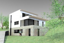 Nízkoenergetický rodinný dům s provozovnou ve svahu Ústí