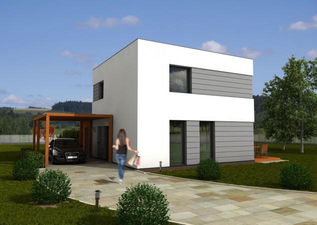 Moderní pasivní dům levný 5+kk s plochou střechou, RD 512_A č.1