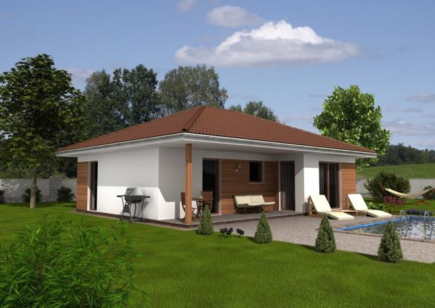 Projekt moderní dřevostavby bungalovu 3+kk, RD 806 č.1