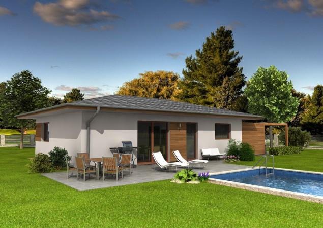 Projekt dřevostavby bungalovu s přístřeškem 4+kk, RD 811 č.1