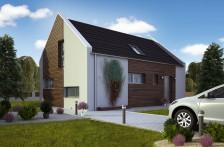 Projekt dřevostavby se sedlovou střechou, RD 802