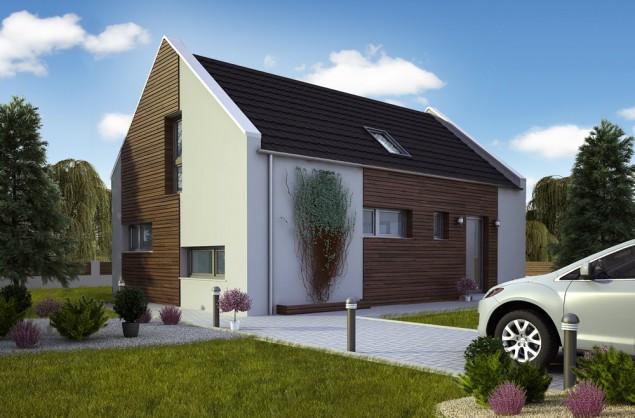 Projekt dřevostavby se sedlovou střechou, RD 802 č.1