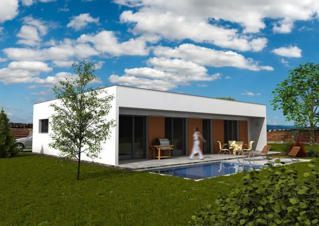 Projekt dřevostavby bungalovu s plochou střechou 5+kk,RD 515 č.1