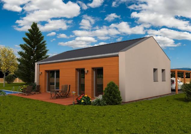Projekt dřevostavby bungalovu s přístřeškem 4+kk, RD 514 č.1