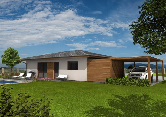 Projekt bungalovu 4+kk se skladem a přístřeškem, RD 811 č.1