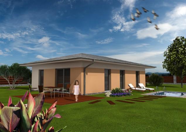 Projekt bungalovu 4+kk s valbovou střechou, RD 810 č.1