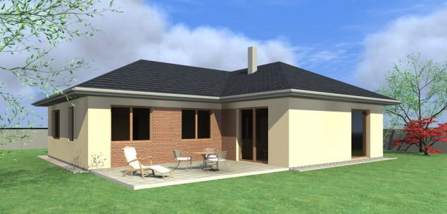 Projekt přízemního bungalovu s velkou garáží 4+kk, RD 817 č.1