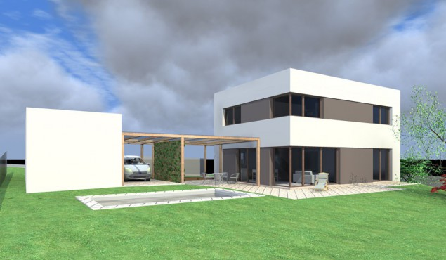 Studie pasivního domu 5+kk s rovnou střechou a garáží č.1