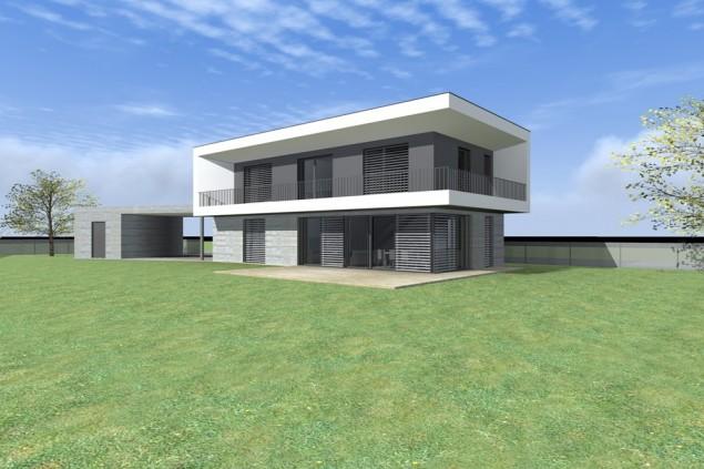 Moderní pasivní rodinný dům s balkonem č.1