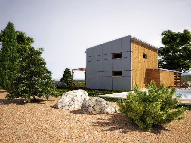 Dřevostavba s pultovou střechou, lze jako pasivní dům, 505 č.1