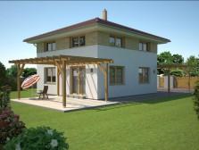 Projekt rodinný dům čtvercového půdorysu 5+kk, pergola, 005