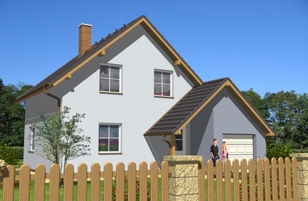 Projekt podkrovní dřevostavby 5+kk s garáží, RD 012 č.1