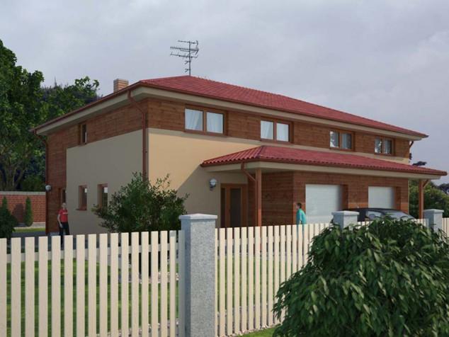 Projekt dvojdomu dřevostavby 5+kk s garáží, RD 015 č.1