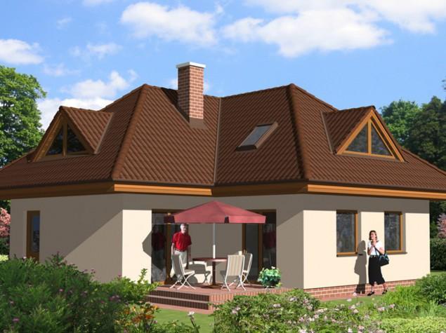 Projekt bungalov s podkrovím tvaru L, 5+kk se skladem, 016 č.1