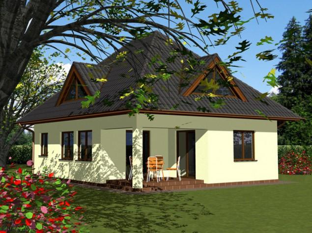 Projekt dřevostavby s valbovou střechou a vikýři, RD 018 č.1