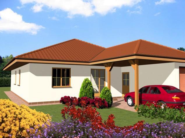 Projekt bungalov přízemní dům 5+kk s garáží a carportem, 019 č.1