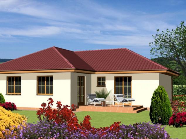 Projekt dřevostavby bungalovu 3+1 s terasou a garáží, RD 020 č.1