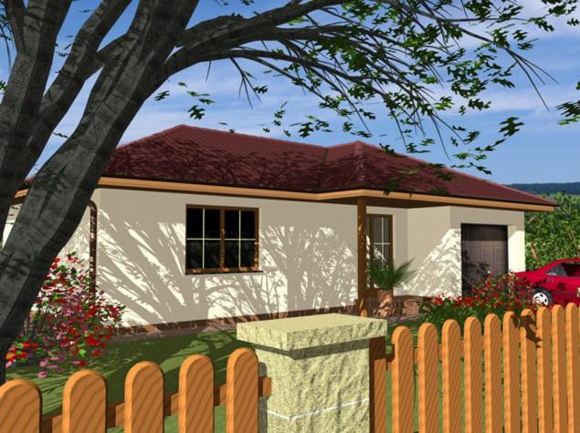 Projekt bungalovu přízemního domu s garáží 3+kk do