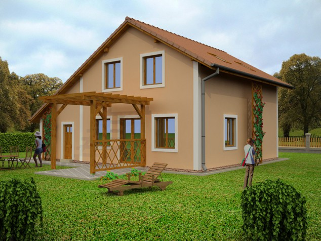 Rodinný dům se sedlovou střechou, přístřeškem a skladem, 027 č.1