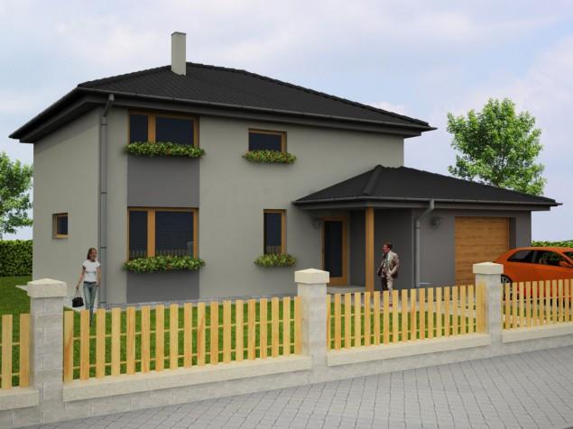 Dřevostavba 6+kk s garáží, krytým vstupem a pergolou,  031 č.1