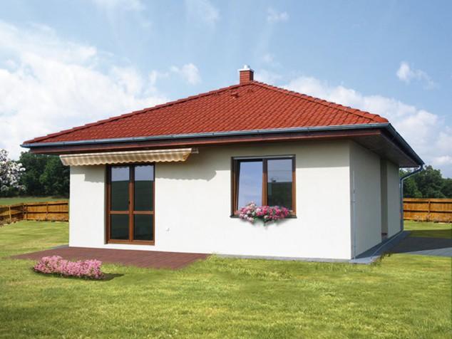 Projekt přízemní dům se skladem 3+1 / kk, šikmá střecha, 036 č.1
