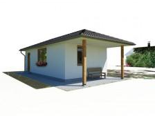 Projekt přízemní dům bungalov 1+1, chata pro rekreaci, 038
