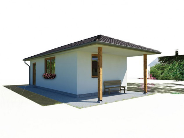 Projekt přízemní dům bungalov 1+1, chata pro rekreaci, 038 č.1