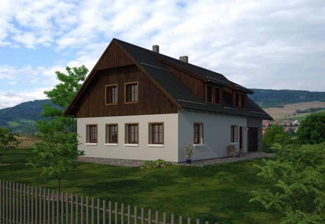 Projekt podkrovní rodinný dům 5+kk, lze postavit v CHKO, 046 č.1